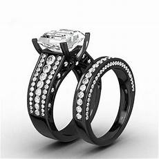 aliexpress com buy black gold filled wedding ring band princess cut white cz halo bridal 2