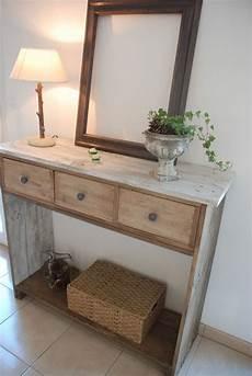 fabriquer une console en bois console en bois de palette style shabby chic meubles