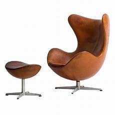 Arne Jacobsen Egg Chair In Original Cognac Brown Leather