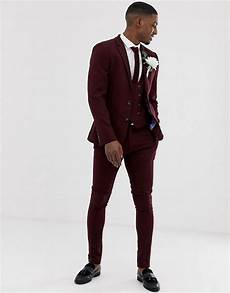 chaussure pour costume noir asos design wedding suit in burgundy twill asos
