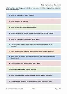 poetry worksheets for ks3 25471 ks3 poems resources for teachers teachit