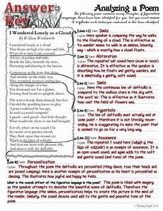 analyzing poetry worksheet answer key 25546 three free figurative language worksheets