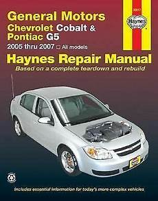 car maintenance manuals 2007 chevrolet cobalt user handbook 2005 2007 haynes chevrolet cobalt pontiac g5 repair manual 1563926792 ebay