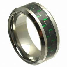 tj co 8mm tungsten carbide beveled edge and green black carbon fiber inlay wedding band