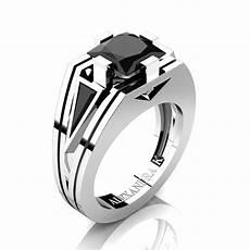 mens modern 14k white gold 4 0 ct princess and triangle black diamond wedding ring a1006m