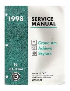 free auto repair manuals 1998 oldsmobile achieva electronic toll collection 1998 pontiac grand am oldsmobile achieva buick skylark n platform service manual 3 volume set