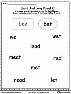 vowels short or e sound words vowels