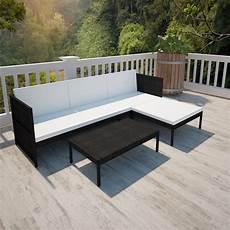 Polyrattan Lounge Set - vidaxl black outdoor poly rattan lounge set three seat