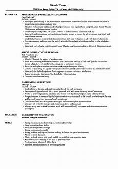 fabrication supervisor resume sles velvet