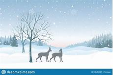 christmas background snow winter landscape skyline with deers merry christmas wallpaper design