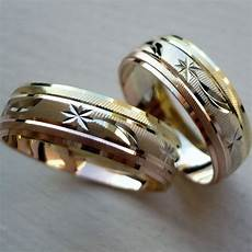 14k solid tricolor gold his and her wedding band ring set sz 5 13 free engraving ebay