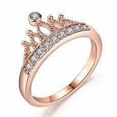 aliexpress com buy drole rose gold color crown zircon engagement cute wedding party ring for