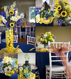 layout five sunflowers blue and yellow wedding