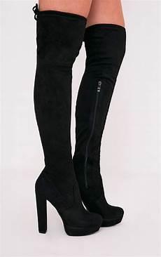 elisabeth black faux suede platform thigh high boots