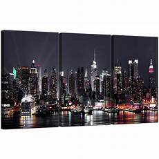 large new york skyline canvas pictures set of 3 for your