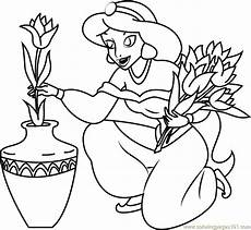 princess filled pot with flower coloring page