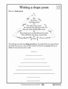 poem worksheets for grade 25549 2nd grade 3rd grade reading writing worksheets poems shape poems shape poems math poems