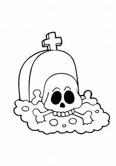 ausmalbilder totenkopf auf grabstein zum
