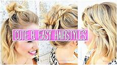 3 easy hairstyles for short medium hair tutorial cute girls hairstyles buns youtube