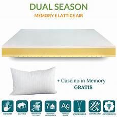 materasso in lattice o memory foam materasso 4 cm memory e 4 cm lattice h21 dual season