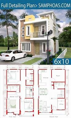 sketchup house plan sketchup home design plan 6x10m with 4 rooms little