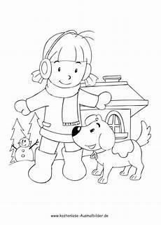 Ausmalbilder Junge Hunde Ausmalbilder M 228 Dchen Mit Hund Im Winter Tiere Zum