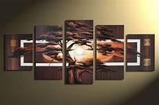 5 Teiliges Bild Auf Leinwand - designbild afrika baum sonnenuntergang handgemalt bild
