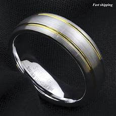 8 6mm tungsten ring brushed silver dome 18k gold wedding band atop mens jewelry ebay 8 6mm tungsten ring brushed silver dome 18k gold wedding band atop mens jewelry ebay