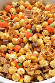 scarecrow crunch snack mix recipe halloween caramel corn browsemint