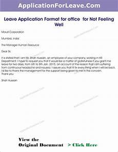 sick leave application letter format for office