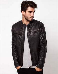 lyst pepe pepe leather biker jacket in black for