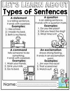 mastering grammar and language arts types of sentences grammar lessons first grade lessons