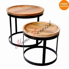 vintage look industrial style coffee table nested table