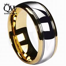 queenwish 8mm tungsten carbide wedding band gold silver dome gunmetal bridal ring men jewelry