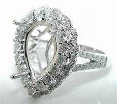 1 30ct pear double halo diamond mounting ring setting 14kw ebay