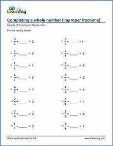 addition fraction worksheets for grade 3 9191 grade 3 worksheet add improper fractions to complete a whole number k5 learning