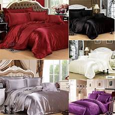 7pc satin bedding sets duvet cover fitted sheet 4 pillow cases cushion ebay