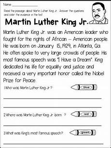 martin luther king jr reading passage and activities by s wonderland