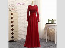 2019 Muslim Evening Dresses A line Long Sleeves Red