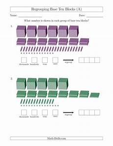 addition with regrouping worksheets with base ten blocks 9691 representing numbers with base ten blocks that require regrouping a
