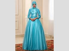 High Neckline Beautiful Satin and Tulle Embroidered Muslim