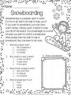 winter activities winter reading comprehension passages and questions