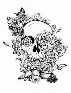 Ausmalbilder Erwachsene Totenkopf Skull And Roses Tattoos Coloring Pages