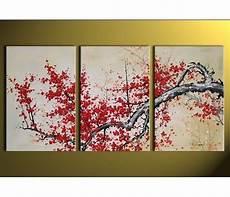 tableau triptyque arbre japonais asie