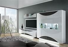 weiß graue wohnwand 3 teilig in uni weiss eiche grau