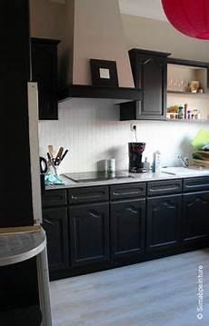 Rénover Une Cuisine En Chêne Cuisine En Chene Repeinte En Noir Style Bistrot Housing