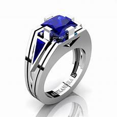 mens modern 950 platinum 4 0 ct princess and triangle blue sapphire wedding ring a1006m platbs