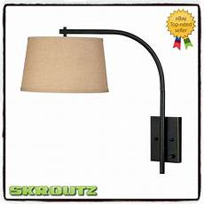 adjustable wall l bedroom vintage decor reading light white shade swing arm ebay
