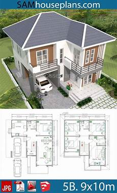 sim house plans house plans 9x10m with 5beds sam house plans in 2020