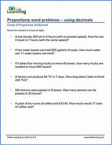 decimals word problems worksheets grade 6 grade 6 math worksheet proportions word problems with decimals k5 learning